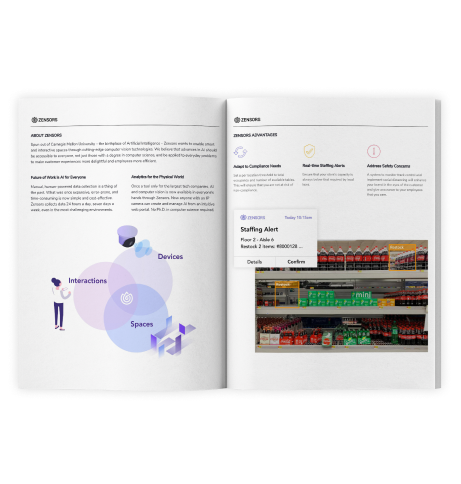 zensors smart retail information booklet / magazine to learn more about the in store analytics  accessed through retail store software